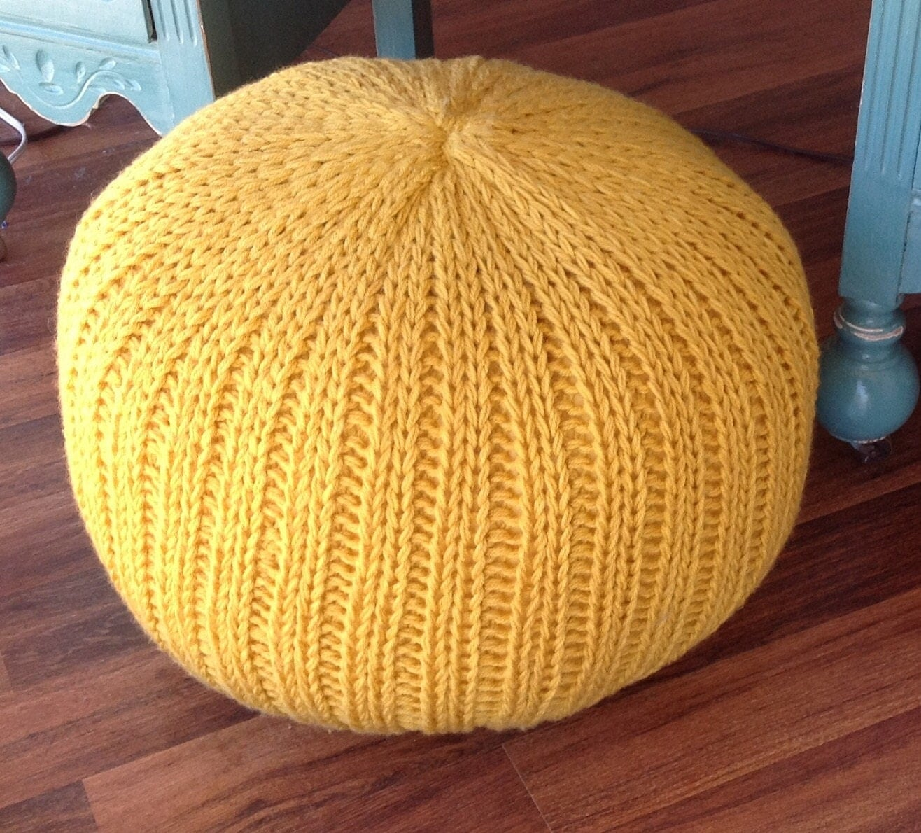 Knitted pillow pouf ottoman mustard yellow - Knitted pouf ottoman pattern ...