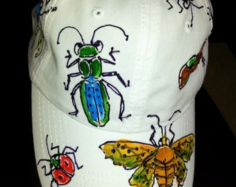 Realistic Bugs, Insects, Salamanders hand painted baseball cap for men and boys
