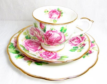 Lady Margaret by Queen Anne Footed Teacup Trio Collectors Set produced by Chapman Shore Coggins at Stoke on Trent England