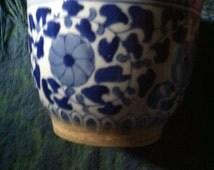Vintage retro oriental BLUE FLOWERED DESIGN plant  victorian hot house decor