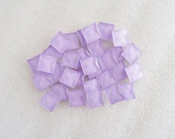 20pcs - Lavender Faceted Square Glass Flatback Decoden Cabochon (10mm) GLQ10001