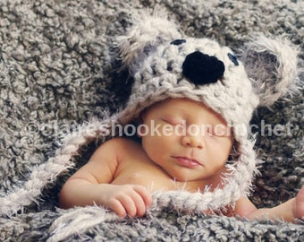 Kenny Koala hat, 0-3 months size, made to order,  photography prop or great gift.