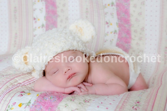 Cute Lamb Fluffy baby hat unisex with removable pink bow 0-3
