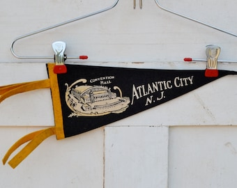 Vintage Atlantic City Pennant New Jersey NJ Convention Hall Black White Yellow Felt Travel Souvenir Momento Vacation Collectible