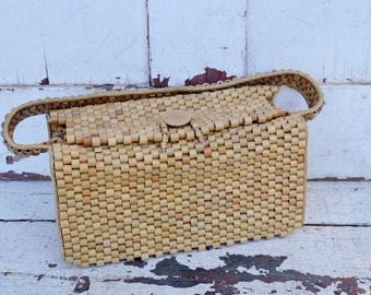 Vintage Wooden Beaded Purse Pocketbook Handbag Box Style Natural Tan Made in Occupied Japan 1940's