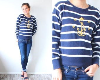 Vintage XS navy blue striped sweater // nautical sweater // boho anchor sweater // gold anchor striped sweater // Mod small sweater // retro