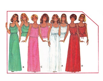 Boho Chic Dress long Maxi length & Top for stretch knits UNCUT 1970s Sewing Pattern McCalls 5765 Size Small 10-12 Bust 32 1/2-34 Quick-Easy