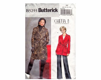 Chetta B wrap Coat OOP UNCUT Sewing Pattern Sizes 8 10 12 14 or 16-18-20-22 Butterick 5255 Easy to Sew Bust 31 1/2 32 1/2 34 36 38 40 42 44