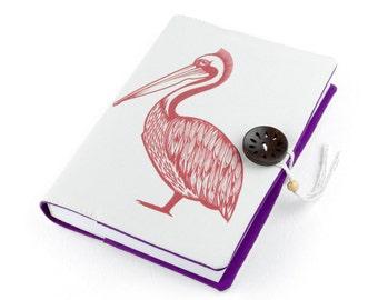 Pelican, Journal, Notebook, Travel Journal, Travel Diary, Sketchbook, Handmade, pélican, unique gift, Pelikan, memopad, carnet, Notizbuch