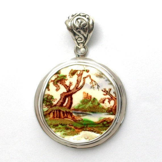 Broken China Jewelry Royal Doulton Michelham Landscape Tree Sterling Pendant