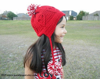 INSTANT DOWNLOAD Valentine's Day Beanie Adult and Little Girls Size - Crochet Pattern