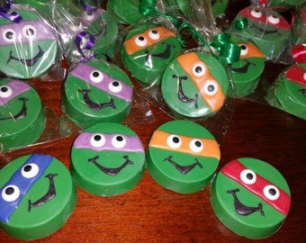 12 Tmnt inspired chocolate covered oreos  teenage mutant Ninja turtle inspired  party favors