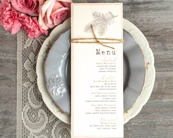 "Rustic Menu Design, Rustic Menu Cards, Moss Green, Blush Peach, Taupe Twine, Customizable Colors - ""Moss Tree"" Stationery Deposit"