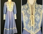 Vintage 70s Prairie Dress Blue with Lace Corset Bodice and Bishop Sleeves Wedding Bridal Prom Boho Hippie Size XS XXS 5