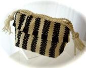 Vintage Purse Handbag Knitted Macrame Boho Crochet Knit Black White 1950s
