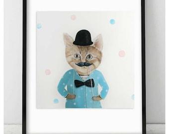 Children's wall art print, Party tabby cat print, kids room decor, nursery animal decor, whimsical kids illustration,cats lover art