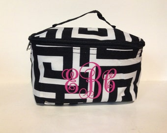 Monogram Black and White Greek Key Cosmetic Tote, personalized