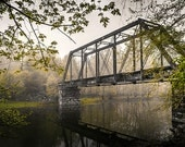 Railroad Bridge landscape photograph, abandoned train tressle, unique gift for him, neutral man cave decor, Appalachian woodland