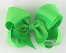 Neon Lime Hair Bow - 4 Inch Hair Bows Baby Toddler Girl - Solid Color Bright Lime Green Boutique Hairbows Alligator Clip Non Slip