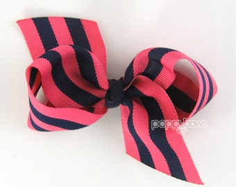 """Loopy Hair Bow - 3.5"""" Bow in Navy Blue and Dark Pink - Knotted Center Wide Ribbon for Baby Toddler Girls - Classic Preppy Style Smooth Tails"""