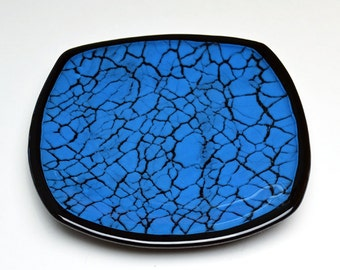 Crackled Glass Fused Glass Plate Blue and Black