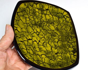 Crackled Glass Fused Glass Plate Golden Yellow and Black
