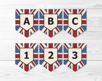Union Jack Flag Banner Set -- Vintage Union Flag, UK Flag, Birthday Party, Homecoming, Study Abroad, London, Printable, Instant Download