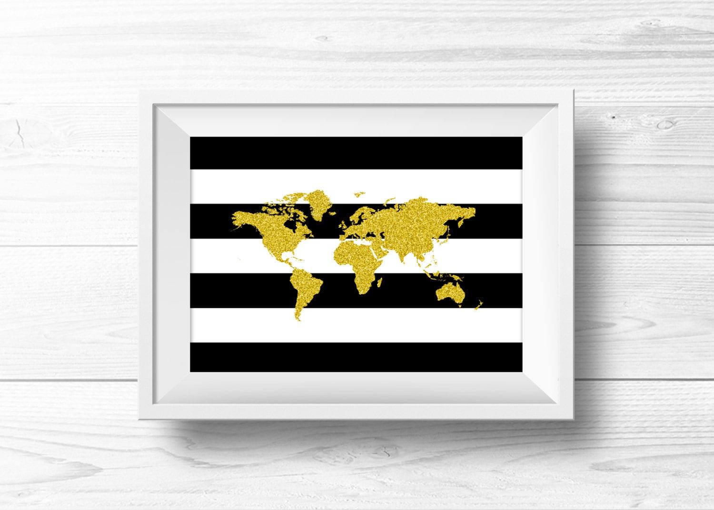 Wall Art Black Gold : World map wall art black gold glitter silhouette
