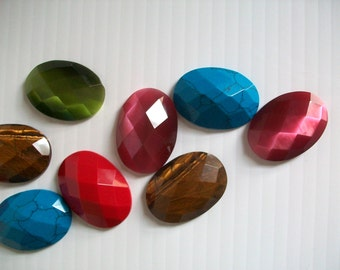 13 oval shaped gems for jewelry making . large faux gems for crafts . large rhinestones . bling gemstones for jewelry making supplies crafts