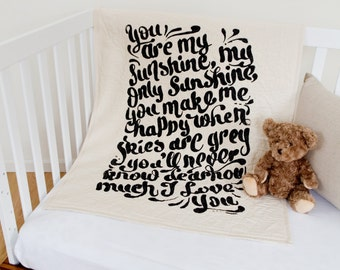 You Are My Sunshine - baby/toddler quilt, with optional 100% linen ruffle crib skirt