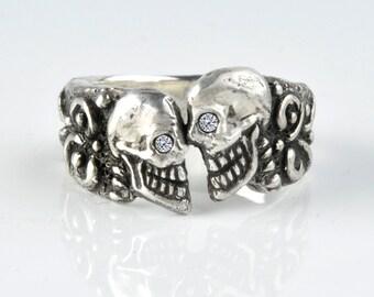 skull ring, Diamond Skull Wedding Ring, Mens or Women's Custom .925 Solid Sterling Silver Skull Ring - Medium size