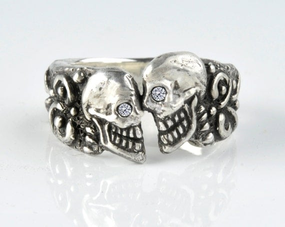 skull ring Diamond Skull Wedding Ring Mens or Womens