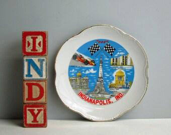 Vintage Indianapolis souvenir plate - USA travel - Indy 500 - Indianapolis landmarks - retro road trip - plate wall decor