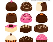 Chocolate Truffles Clipart Set - candy, sweets, chocolate box, truffle, clip art set - personal use, small commercial use, instant download