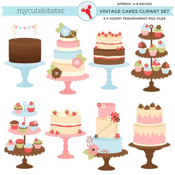 Pretty Vintage Cakes Clipart Set clip art set of cakes