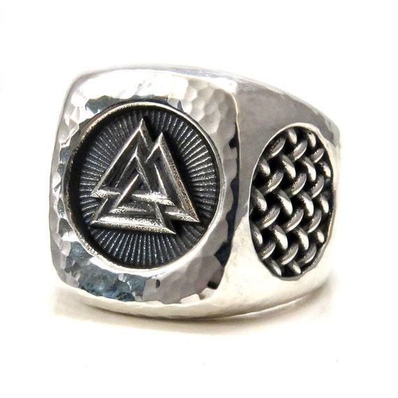 Mens Valknut Symbol Silver Ring - Hammered - Handmade