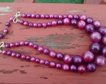 Vintage Coro Pink and Purple Necklace