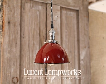 Lighting With Red Enamel Dome Shade