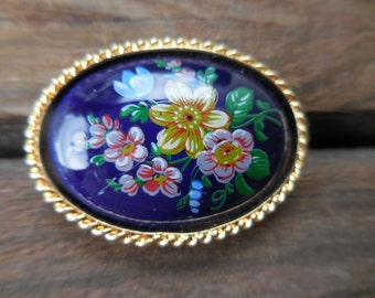Vintage Gold Tone Blue Glass Brooch/Pin Painted Flowers Small 1960s to 1980s