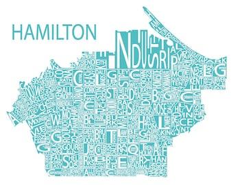 Typographic Map of Hamilton, Ontario