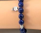 Lapis Lazuli Bracelet with Swarovsky Charm.  Gift Idea.  Gemstone Bracelet.