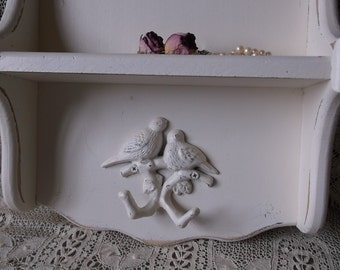 French country Style wood shelf with bird hook, Heirloom white,  shabby, key holder shelf