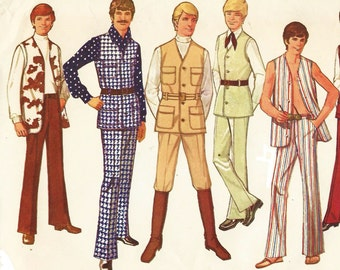 1970s Mens Lined Vest and Bell Bottom Pants Simplicity Sewing Pattern 9087 Size 40 Chest 40 UnCut Vintage 1970s Sewing Patterns