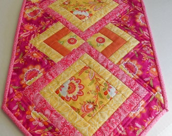 Pink and Yellow Floral Table Runner-Reversible to Cherry Blossom-Free Shipping
