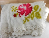 Hand Made Afghan White with Flowers