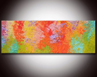 Large Abstract Oil Painting 6 Feet ,Origina Modern Abstract Large Abstract  Painting 72x24 ready to hang, Colorful textured impasto painting