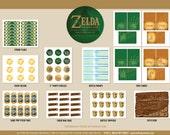 Zelda Party Set - INSTANT DOWNLOAD - Zelda Birthday Party - Print Your Own Decorations