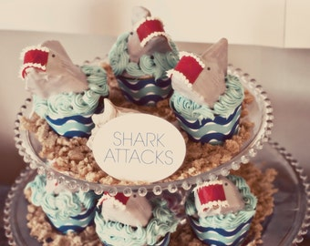 Beach Party Cupcake Wraps - INSTANT DOWNLOAD - Printable Birthday Party Decorations - Jaws Shark Attack