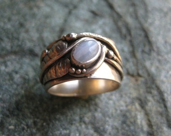 Wide Silver Ring with Agate, Leaf and Wire Designs
