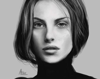 Custom Monochrome Digital Portrait - Realistic Painting , Printable Digital File